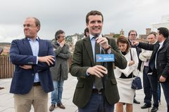 Conservative Popular Party conference in Caceres of Pablo Casado leader of PP and candidate for prime minister in Spain. Caceres, Extremadura, Spain - April 18 stock photos