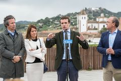 Conservative Popular Party conference in Caceres of Pablo Casado leader of PP and candidate for prime minister in Spain. Caceres, Extremadura, Spain - April 18 royalty free stock image