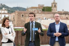 Conservative Popular Party conference in Caceres of Pablo Casado leader of PP and candidate for prime minister in Spain. Caceres, Extremadura, Spain - April 18 royalty free stock photo