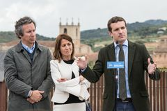 Conservative Popular Party conference in Caceres of Pablo Casado leader of PP and candidate for prime minister in Spain royalty free stock image
