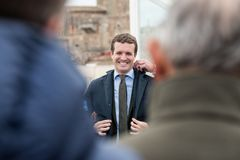Conservative Popular Party conference in Caceres of Pablo Casado leader of PP and candidate for prime minister in Spain royalty free stock images