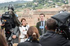 Conservative Popular Party conference in Caceres of Pablo Casado leader of PP and candidate for prime minister in Spain stock photography