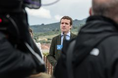 Conservative Popular Party conference in Caceres of Pablo Casado leader of PP and candidate for prime minister in Spain royalty free stock photo