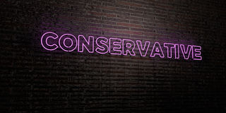 CONSERVATIVE -Realistic Neon Sign on Brick Wall background - 3D rendered royalty free stock image. Can be used for online banner ads and direct mailers Stock Photo