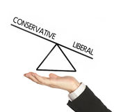 Conservative versus liberals in balance Royalty Free Stock Photo