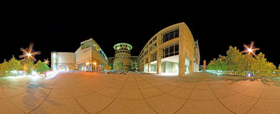 Conservatoire Stuttgart, Hochschule für Musik und. STUTTGART, GERMANY - May 19: Night panorama of the university of music and performing arts on May 19 Royalty Free Stock Photography