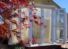 Conservatory with Acer. A white conservatory with a red acer to one side,  in bright sunshine Stock Photo