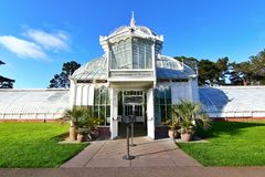 Golden Gate Park in San Francisco California. The Conservatory of Flowers building at Golden Gate Park. It is one of the largest conservatories built of royalty free stock image