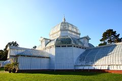 Golden Gate Park in San Francisco California. The Conservatory of Flowers building at Golden Gate Park. It is one of the largest conservatories built of stock images