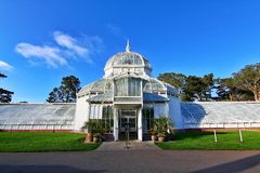 Golden Gate Bridge in San Francisco California. The Conservatory of Flowers, a greenhouse The Conservatory of Flowers building at Golden Gate The Conservatory of stock images