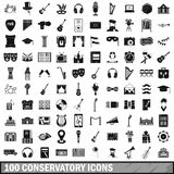 100 conservatory icons set, simple style. 100 conservatory icons set in simple style for any design vector illustration Stock Photos