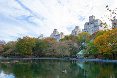 Conservatory water in Central Park by fifth avenue and 74th Stock Image