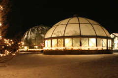 Conservatory on a Winter's Night. Michigan State University (MSU) Hidden Lake Gardens Conservatory buildings on a winter night during the Christmas festival of royalty free stock photos