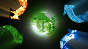 Conservazione ambientale con il pianeta della terra, riciclante concetto, metraggio di riserva illustrazione di stock