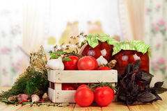 Conserve casalinghe dei pomodori Fotografia Stock Libera da Diritti