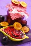 Conserve casalinghe delle prugne Fotografie Stock