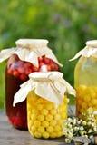 Conserve de fruits, compote de griottes images stock
