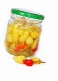 Conserve dei peperoni caldi Fotografia Stock