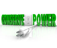 Conserve Power Electrical Cord Plug Save Energy Conservation Stock Image