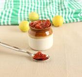 Conserves au vinaigre de citron dans une cuillère en acier Photographie stock libre de droits