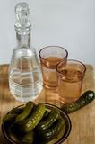 conserves au vinaigre, deux verres, un décanteur Images libres de droits