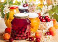 Conserves de fruits et baies photos stock