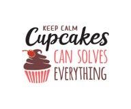 conservez les petits gâteaux calmes peut résoudre tout conception de vecteur de citation illustration libre de droits