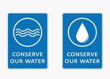 Conservez notre eau Paires de signes Photographie stock libre de droits