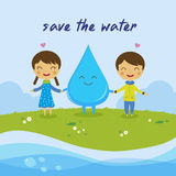 Conservi i acqua risparmi il mondo Fotografia Stock