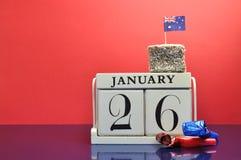 Conservi il calendario della data per il giorno dell'Australia, 26 gennaio. Fotografie Stock