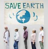 Conservi il concetto di conservazione dell'ambiente dell'ecologia della terra immagine stock