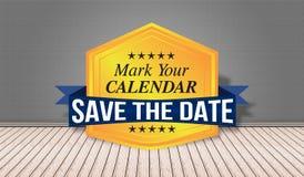 Conservi il distintivo della data - segni il vostro calendario Fotografia Stock Libera da Diritti