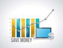 conservi il grafico commerciale ed il computer dei soldi Fotografia Stock