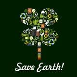 Conservi il manifesto della terra, simbolo di protezione dell'ambiente Immagine Stock
