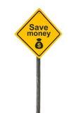 Conservi il segnale stradale dei soldi. Immagine Stock