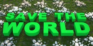 Conservi il testo del mondo su erba verde Fotografia Stock