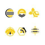 Conservi l'illustrazione isolata annata dolce dell'insieme di etichetta del miele di previsione di download Simbolo dell'azienda  immagini stock