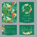 Conservi la carta di data - fiori ed uccelli tropicali - per nozze Fotografia Stock Libera da Diritti