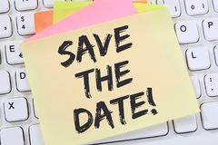 Conservi la carta per appunti di affari di contenuto del messaggio dell'invito della data fotografie stock
