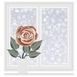 Conservi la cartolina del calore, finestra chiusa con il fondo dei fiocchi di neve Fotografia Stock