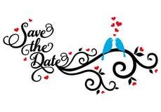 Conservi la data, gli uccelli di nozze, vettore Fotografia Stock Libera da Diritti