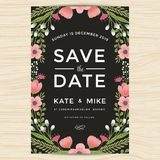 Conservi la data, modello della carta dell'invito di nozze con stile disegnato a mano dell'annata del fiore della corona Fondo fl Immagini Stock Libere da Diritti
