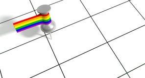 Conservi la data Pin With Gay Label Fotografia Stock