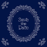 Conservi la linea modello della carta di data di progettazione di nozze di arte Immagine Stock Libera da Diritti