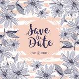 Conservi la partecipazione di nozze dell'iscrizione della data Fiori floreali del disegno della struttura illustrazione vettoriale