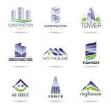 Conservi la previsione di download pubblicano o aggiungono gli effetti   Raccolta dell'insieme dell'icona di architettura e del  Immagine Stock