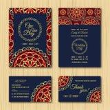 Conservi la tavolozza blu arancio dell'invito di nozze delle carte della data RSVP Fotografie Stock