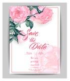 Conservi le carte di data con le rose Può essere usato per l'invito di nozze, il biglietto di auguri per il compleanno, modello d Immagini Stock