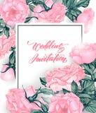 Conservi le carte di data con le rose Può essere usato per l'invito di nozze, il biglietto di auguri per il compleanno, modello d Fotografia Stock
