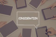 CONSIDERATION CONCEPT Business Concept. Royalty Free Stock Image